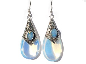 Sterling Silver Simulated MoonStone and Opal Doublet TearDrop Earrings