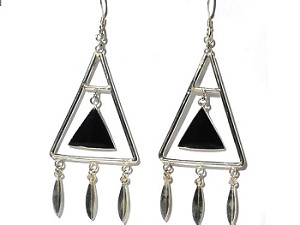 Sterling Silver Black Onyx Inlaid Suspened Triangle Earrings