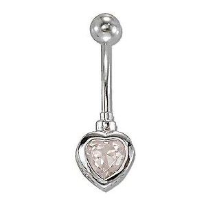 Banana Cz Cubic Zirconia Heart 14g / 14mm-Lg / 5mm Ball