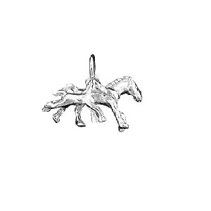 Sterling Silver Running Pony - Filly and Foal Horse Charm Pendant