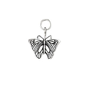 Sterling Silver Detailed Butterfly Charm Pendant