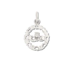 Sterling Silver Claddagh Wreathed In Hearts Pendant