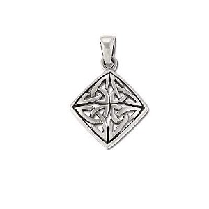 Sterling Silver Celtic 4 Triquetras In Diamond Shape Pendant