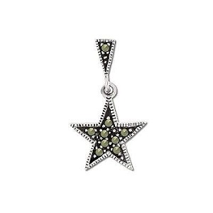 Sterling Silver Genuine 9 Marcasite Star Pendant