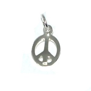 Sterling Silver Small Peace Sign Charm Pendant