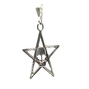 Sterling Silver Skull on 5 point Star  Pendant