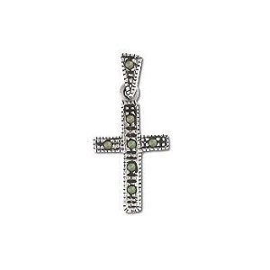 Sterling Silver Marcasite Cross Pendant