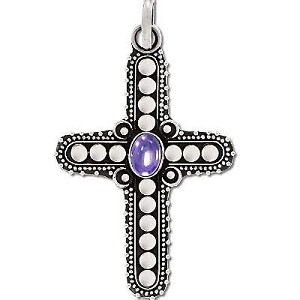 Sterling Silver Handmade Genuine Stone Cross Pendant