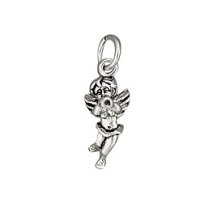 Sterling Silver Cherub Blowing Trumpet Charm Pendant