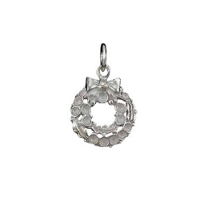Sterling Silver Christmas Wreath Charm Pendant
