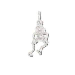 Sterling Silver Wiggling Frog Pendant