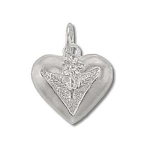 Sterling Silver Heart with Flower Center Pendant