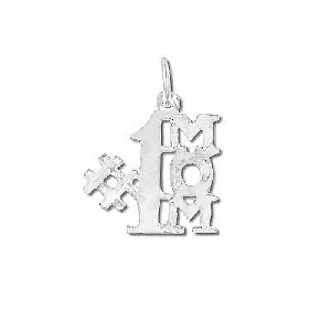 Sterling Silver Number One Mom Charm Pendant #1 Mom