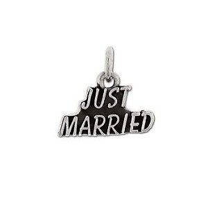 Sterling Silver Just Married Charm Pendant