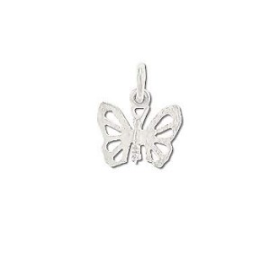 Sterling Silver Open Wing Segments Butterfly Pendant
