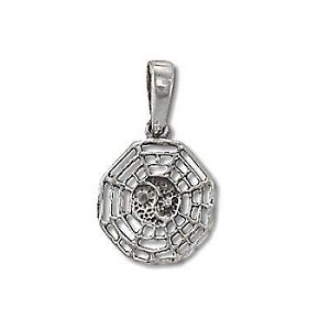Sterling Silver Spider Web Ying Yang Pendant
