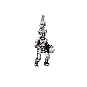 Sterling Silver BasketBall Player Dribbling pendant charm.