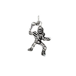 Sterling Silver Passing Football Player Charm Pendant