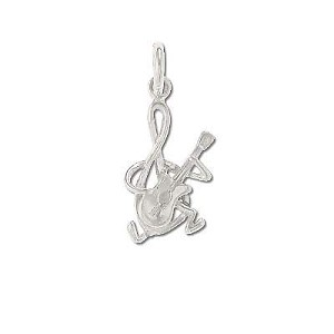 Sterling Silver Musical Note Playing Guitar Charm Pendant