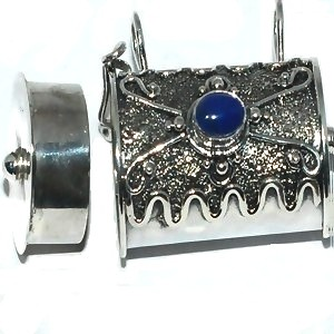 Sterling Silver Bali Cylinder Prayer Box with Blue Agate
