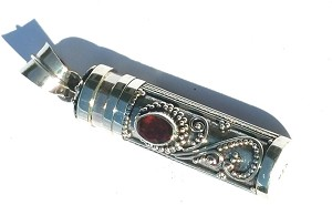 Sterling Silver Cylinder Prayer Box Pendant with Garnet