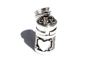 Sterling Silver Cylinder Prayer Box Pendant with Hearts and Circles