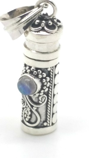 Sterling Silver Cylinder Prayer Box Pendant with Simulated Rainbow Moonstone