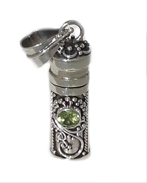 Sterling Silver Cylinder Prayer Box Pendant with Peridot