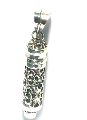 Sterling Silver Balinese design Cylinder Prayer Box with Garnet