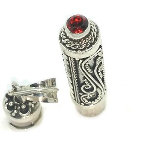 Sterling Silver Cylinder Prayer Box Pendant with Garnet on the bottom