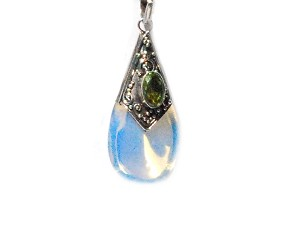 Sterling Silver Simulated Moonstone and Peridot Teardrop Pendant