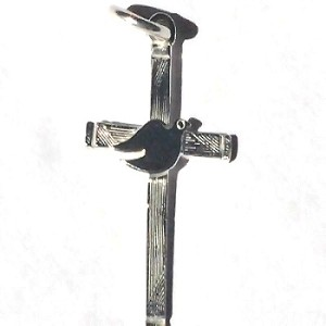 Sterling Silver Cross and Dove Pendant