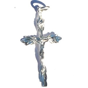 Sterling Silver Diamond Cut Crucifix Pendant