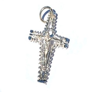 Sterling Silver Diamond Cut Crucifix Flute Cross Pendant