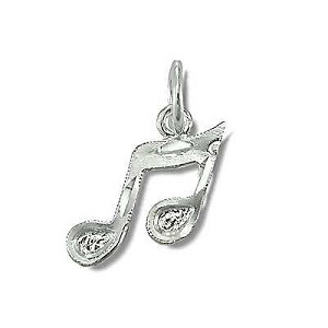 Sterling Silver Diamond Cut Musical Notes Pendant Charm