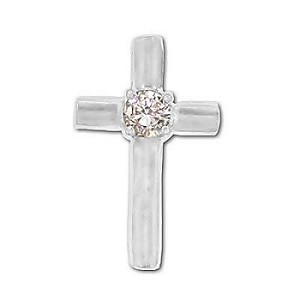 Sterling Silver Cross Pendant With Crystal Center