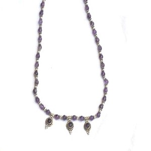 Sterling Silver Amethyst and silver beaded 16 inch Necklace