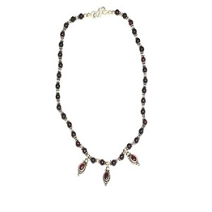 Sterling Silver genuine garnet and silver beaded 16 inch Necklace