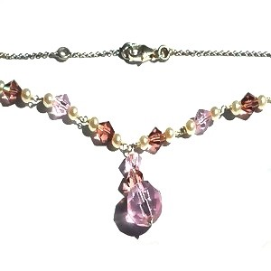 Sterling Silver Austrian Crystal and Pearl Chain Necklace.