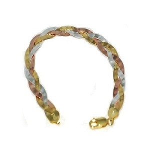 Sterling Silver Vermeil 7 Inch  tri-color 8mm Bracelets