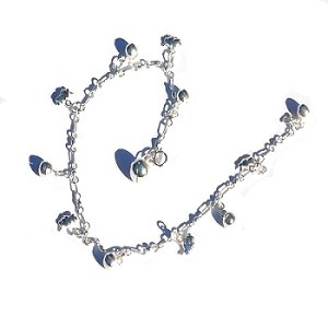 Sterling Silver 925 Chimming Balls and Bunny Anklet / Bracelet