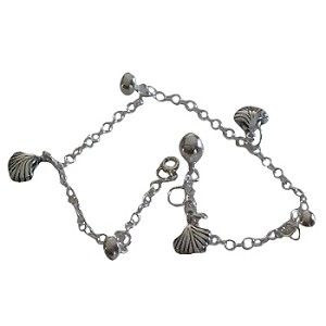 Sterling Silver 925 10 inch SeaShell and Balls Ankle Bracelet