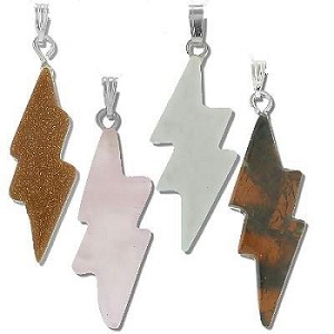 Lightning Bolt Stone Pendant - assorted Stones Sold by Piece