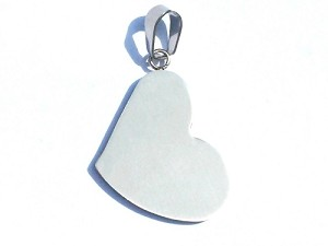 Stainless Steel Matted Engravable Heart Pendant with Bail
