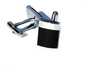 Two Tone Black and Silver Mens Polished Cuff Links
