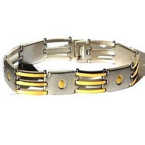 Men's Stainless Steel 9 inch Screw Design Bracelet with gold accents