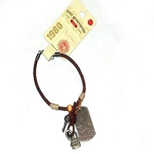Leather Bracelet with Dogtag, lock and key and hemp spacers.