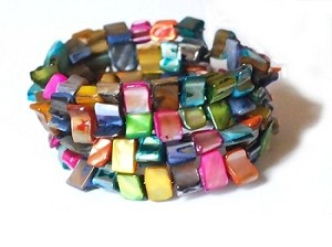 Colorful Shell Beads 4 Strand Bracelet with Steel Memory Wire