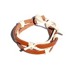 Light Brown Adjustable Leather Bracelet intertwined with hemp rope