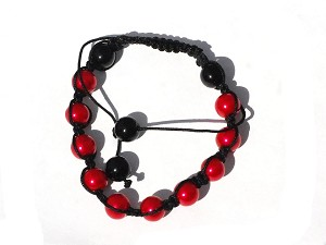 Tranquility Friendship bracelet with Red Glass Pearl Beads